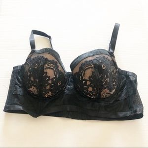 Torrid Black Lace and Nude Bra